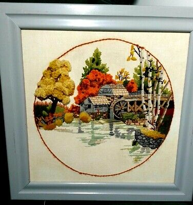 Completed Crewel Embroidery Framed 'The Old Waterwheel' Picture