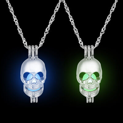 Unisex 1Pc Luminous Skull Shape Pendant Necklace Glow in The Dark Party Jewelry