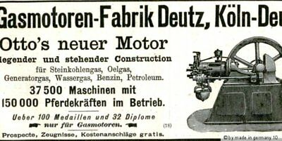 """Otto s neuer Motor Gas Motor Fabrik DEUTZ "" 1892 &more nice old engine ad cuts"