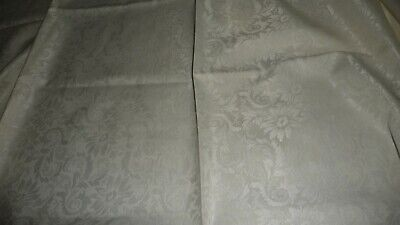 """#411Q vintage Tablecloth  OFF WHITE   DAMASK  66''  x 84""""  Appears Unused"""