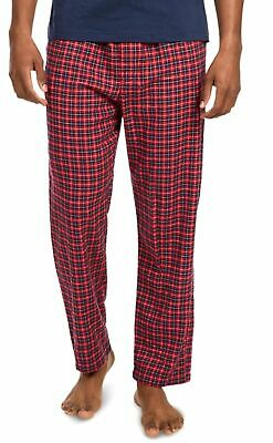 $49 Nautica Mens Cotton Pajama Flannel Pants Red Blue Plaid Sleepwear Size S