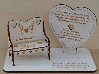 Memorial Plaque Seat Bench My Heart Wont Let You Go Poem, Personalised  Chair,