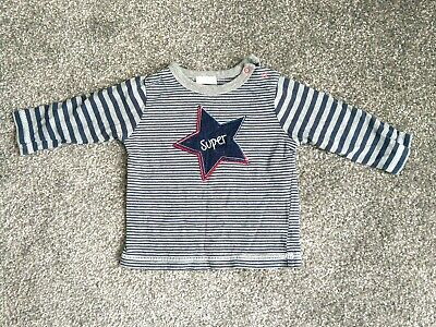 Boys' BHS Navy and Grey Stripy Top (3-6 months) Good condition.