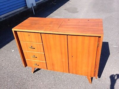 Vtg Musterring Mid Century Danish Teak Sewing Table Sideboard Cabinet Credenza