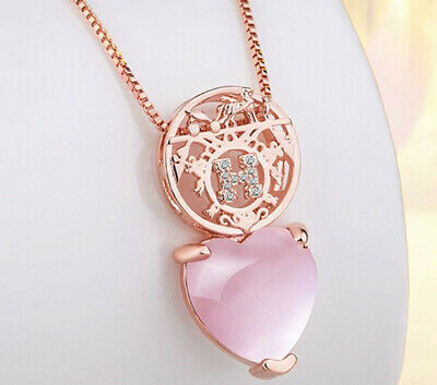 Pink Moonstone Heart Pendant 925 Sterling Silver Chain Necklace Womens Jewellery