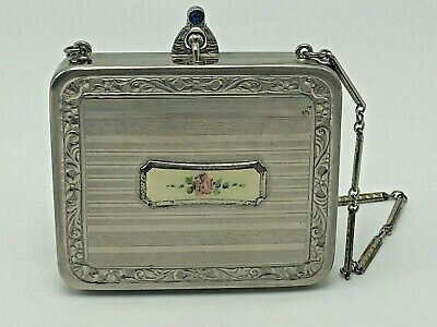 Enameled Art Deco Powder Compact with Flowers & Etched Silver Tone Metal Chain