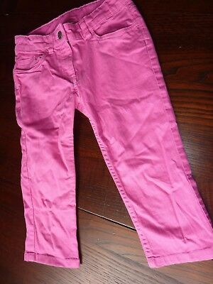 Monsoon Age 9-10 Yrs Pink Cotton/Elastane Adjustable Waist Crop Trousers