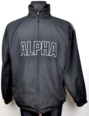 ALPHA INDUSTRIES Full Zip Men's Medium Jumper Black Tracksuit Sweatshirt M Top