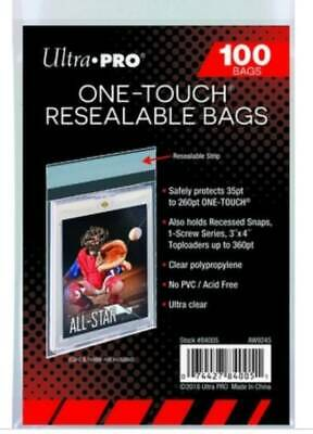 Pack of 100 Ultra Pro One Touch Resealable Poly Bags Sleeves for Card Holder