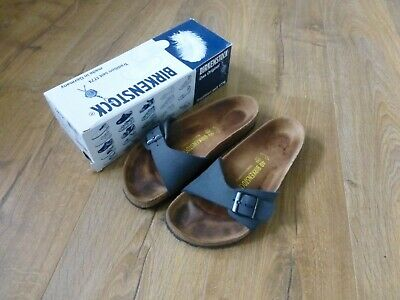 LADIES BIRKENSTOCK MADRID Birko Flor Nubuk Navy Sandals