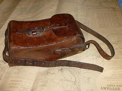 Rare BRITISH MILITARY Thick Leather GUN MAGAZINE CARRIER, Brass Fittings c.1910.