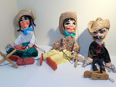 3 Vintage Mexican Marionettes Puppets Gun Slinger Girl Boy Hecho En Mexico