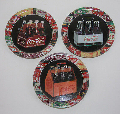 "3 Mini Tin Coke Trays Advertising 6 Packs From Over Time Retro 1999 (3 1/2"")"