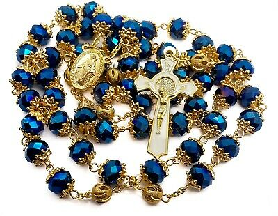 St Benedict Rosary Long Necklace Golden Deep Blue Crystal Beads Miraculous Cross
