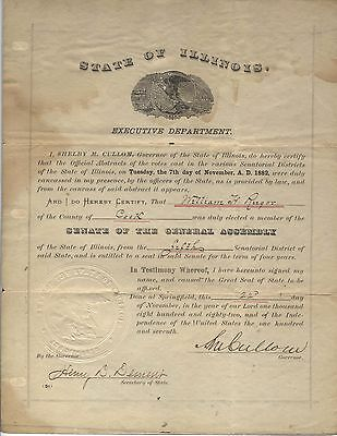 1882 Illinois Governor Signed Document Appointment  Extremely Rare