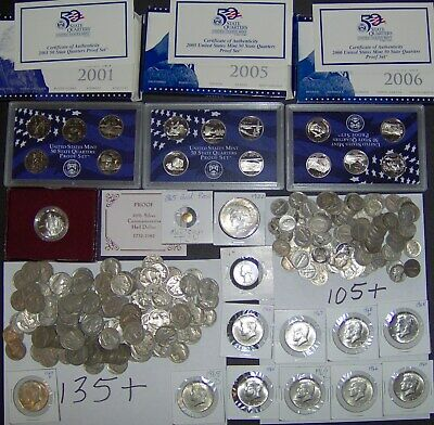 280+Coins 120+ Silver Coins $1 Halves Dimes Nickels Quarters FREE SHIPPING S56