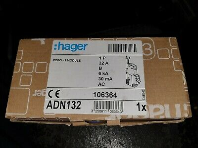 Hager Adn132, 32 Amp Type B 6 Ka, 30Ma, Domestic Rcbo, * New Condition *