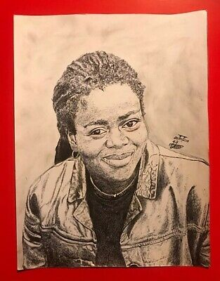 Detailed Celebrity Biro Art Ballpoint Pen Original  Portrait of Tracy Chapman
