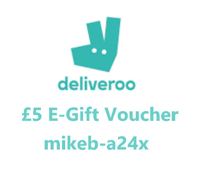 Deliveroo voucher code. £5 off first order. A3 Code: mikeb-a24x