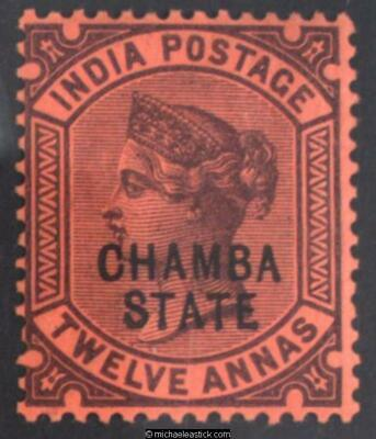 1890 Chambra 12a, purple on red, SG 16 MH