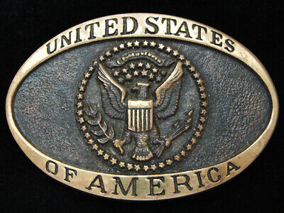 Pf13147 Vintage 1980 **United States Of America** Solid Brass Belt Buckle