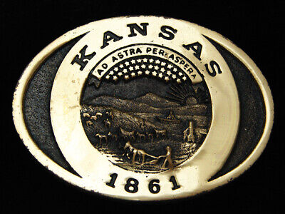 Pk05173 *Nos* Vintage 1982 **Kansas** Statehood Commemorative Solid Brass Buckle
