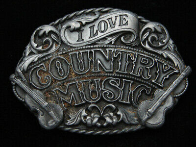 Ra09108 Vintage 1988 **I Love Country Music** Commemorative Siskiyou Belt Buckle