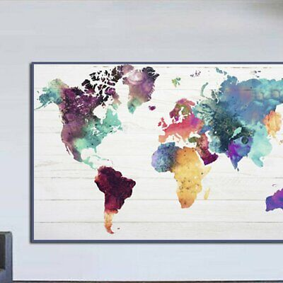 Colourful Retro Colorful World Map Canva Painting No Frame Wall Display V1