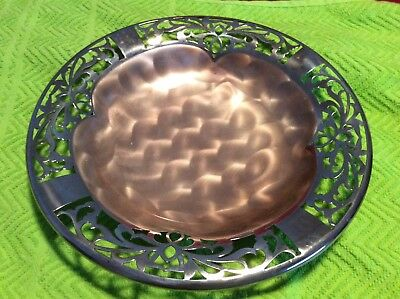 """Very Beautiful Silver Plate Ornate 10"""" Footed Table Bowl / Dish Hand Finished"""