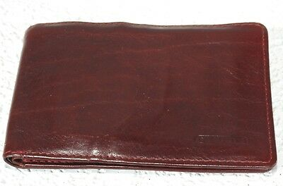 New Mens Giudi Tri Fold Credit Card Billfold Wallet Burgundy Leather Made Italy