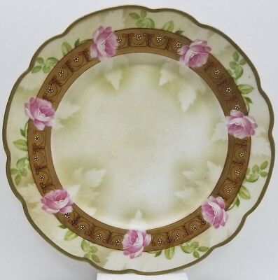 Antique MZ Austria Hand Painted Decorative Floral Plates, Gold Edging Scalloped