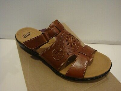 145451897 NIB NEW Women CLARKS LEISA HIGLEY LEATHER CASUAL SLIDE SANDALS CUIR BRUN 12