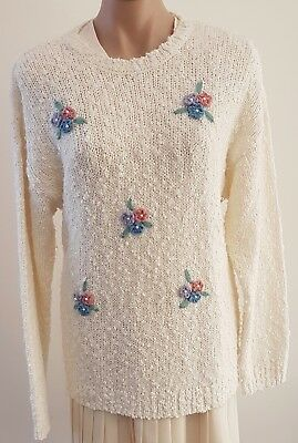 Vintage 90s TARGET Acrylic FLORAL Embroidered Oversize Knitted JUMPER size 10