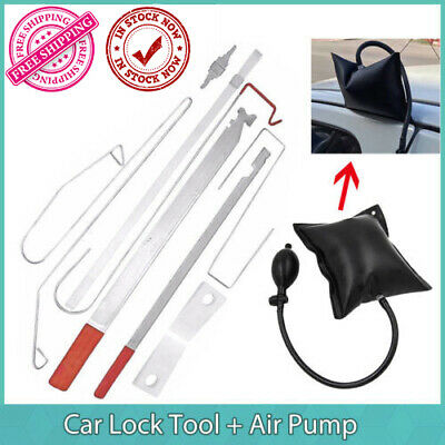 12Pcs Car Door Key Lock Out Emergency Opening Unlock Tools Kit +Air Pump+Wedge