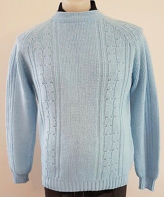 Mens Vintage 70s TARGET Acrylic Knitted Light BLUE High Neck CABLE JUMPER size L