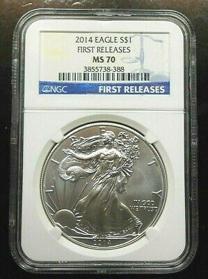 2014 Silver Eagle ~ Ngc Ms70 ~ First Releases ~ Free Shipping (Ls3)