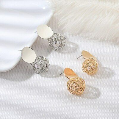 Fashion Charm Women Gold Plated Round Pearl Dangle Drop Earrings Stud Jewelry UP