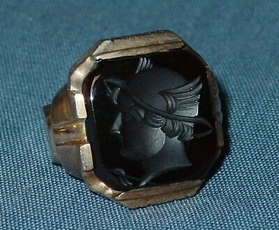 Antique Art Deco Carved Carnelian Intaglio 10k Solid Gold Men's Wax Seal Ring