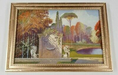 Antique 1920s Art Deco Los Angeles Estate Early California Landscape Painting