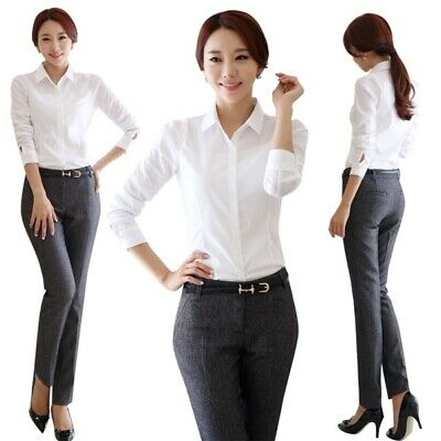 NEW! Women Office Lady Business Blouse Career Lapel Collar Shirt White Shirt AU