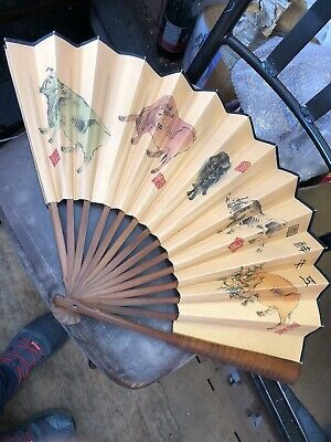 Antique Chinese Mandarin  Hand Painted and Sandalwood Fan Oxen Motiff
