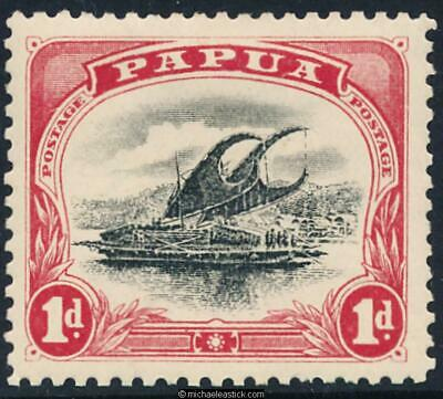 1908 Papua 1d Black and Rose. Small Papua. Wmk Upright. SG 49. State 2 or 3. MH