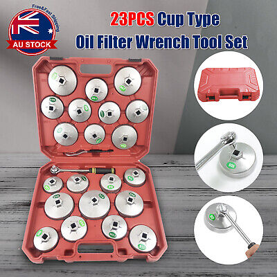 23pcs Cup Type Aluminium Oil Filter Wrench Removal Socket Remover Tool Kit M