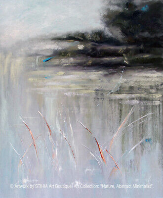 Moody Evening. Gallery Quality Authentic Oil Painting. Abstract Nature.