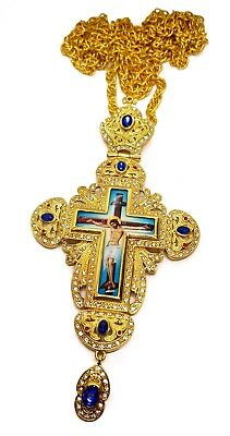 Pectoral Cross Blue Multi Zircon Crystallized Elements Christian Priest Crucifix