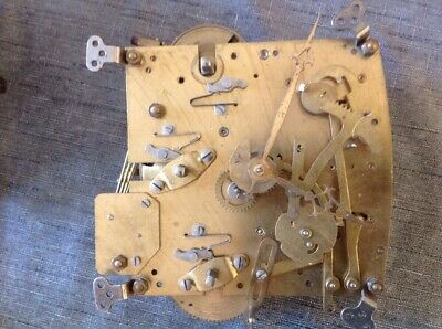 Antique Clock Movement Perivale 4 Chime 13x13cm Plates For Spare Parts