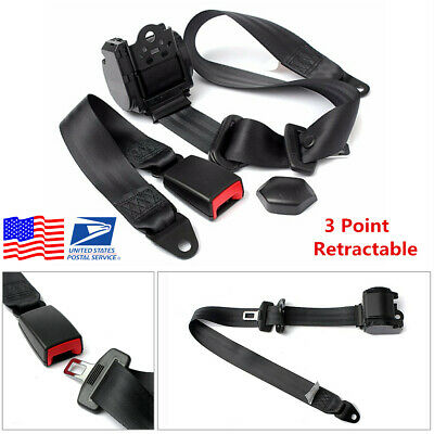USA! Black Universal Automatic Retractable 3 Point Car Safety Seat Lap Belt Set