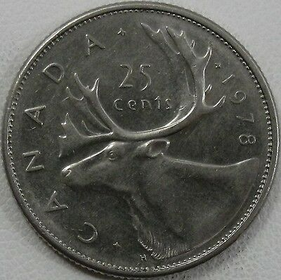 1978 25C Canada 25 Cents, Small Denticles, BU, UNC, Canadian Quarter, #7276