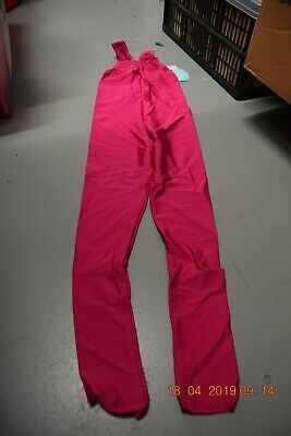 Cerise pink lycra ruched front tank stirrup catsuit  - Size 2 - Age 8-10