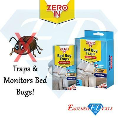 3 Pack of ZERO IN Bed Bug Killer Traps - 60 Days Protection, Humane Poison Free